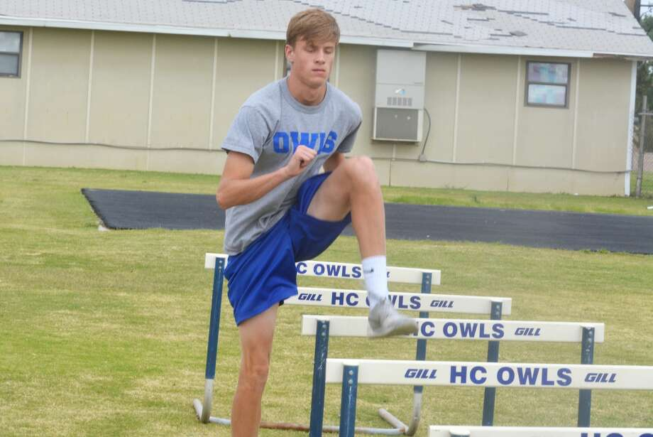Hale Center's Jace Cannon goes through a drill during track practice earlier this week. Cannon, a junior, will compete in the 300-meter hurdles at the UIL Class 2A State Track and Field Championships in Austin Saturday. His race begins at 3:15 p.m. Photo: Skip Leon/Plainview Herald