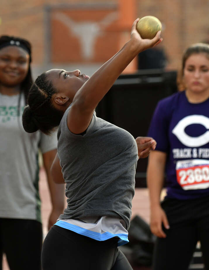 Alvin Shadow Creek junior Hailey Pollard takes a practice throw during the Class 5A Girls Shot Put competition at the UIL Track & Field State Championships at Mike A. Myers Stadium on the campus of the University of Texas at Austin in Austin on Thursday, May 11, 2017. (Photo by Jerry Baker/Freelance) Photo: Jerry Baker/For The Chronicle