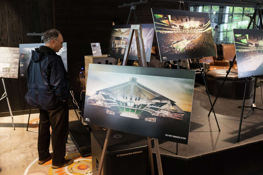The Oak View Group shows off its plans during the KeyArena RFP open house at KEXP on Thursday, May 11, 2017. Photo: GRANT HINDSLEY, SEATTLEPI.COM / SEATTLEPI.COM