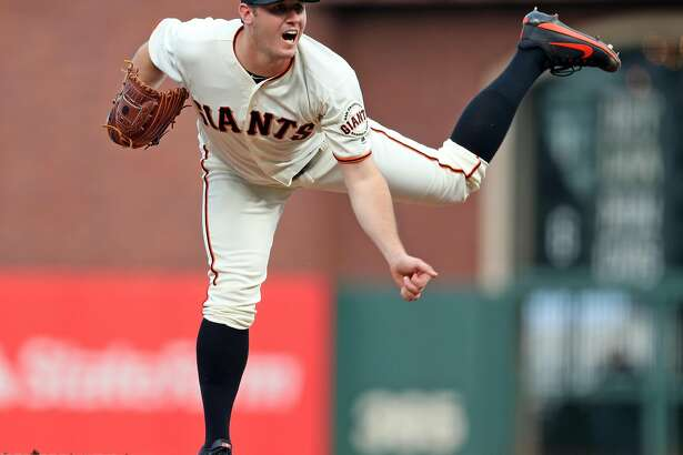 San Francisco Giants' Ty Blach follows through in 1st inning against Cincinnati Reds during MLB game at AT&T Park in San Francisco, Calif., on Thursday, May 11, 2017.