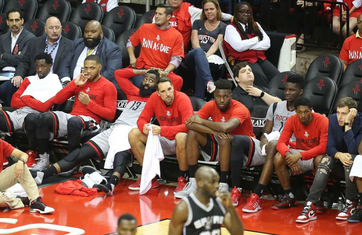 The Rockets starters watch from the bench during the second half of Game 6 of the Western Conference semi-final series between the Houston Rockets and San Antonio Spurs at Toyota Center, Thursday, May 11, 2017, in Houston. (Mark Mulligan / Houston Chronicle)