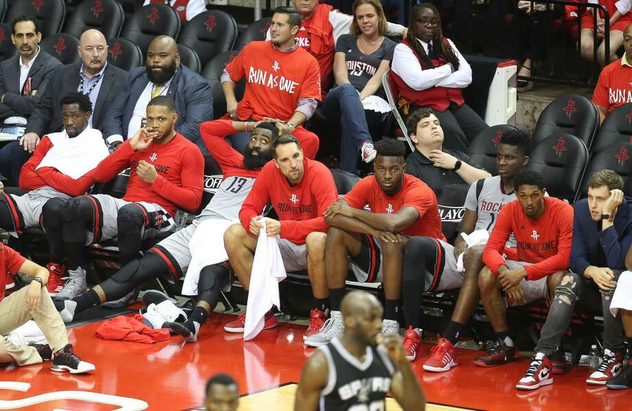 The Rockets starters watch from the bench during the second half of Game 6 of the Western Conference semi-final series between the Houston Rockets and San Antonio Spurs at Toyota Center, Thursday, May 11, 2017, in Houston. (Mark Mulligan / Houston Chronicle) Photo: Mark Mulligan/Mark Mulligan / Houston Chronicle