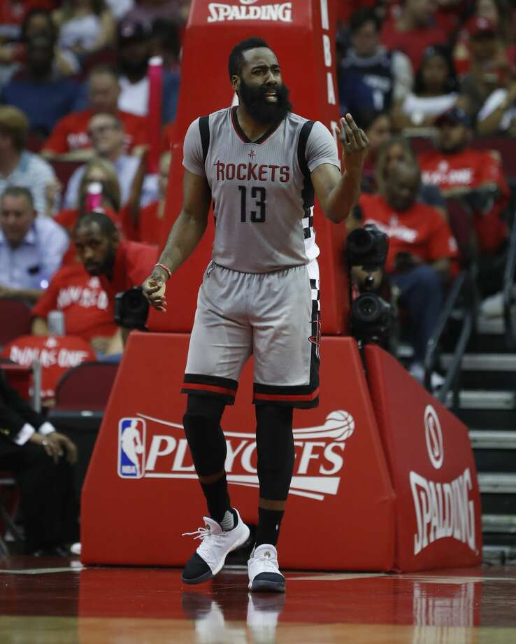 Houston Rockets guard James Harden (13) reacts after his fourth foul during the second half of Game 6 of the second round of the Western Conference NBA playoffs at the Toyota Center, Thursday, May 11, 2017, in Houston. ( Karen Warren / Houston Chronicle ) Photo: Karen Warren/Houston Chronicle