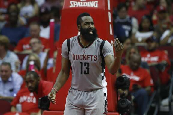 Houston Rockets guard James Harden (13) reacts after his fourth foul during the second half of Game 6 of the second round of the Western Conference NBA playoffs at the Toyota Center, Thursday, May 11, 2017, in Houston. ( Karen Warren / Houston Chronicle )