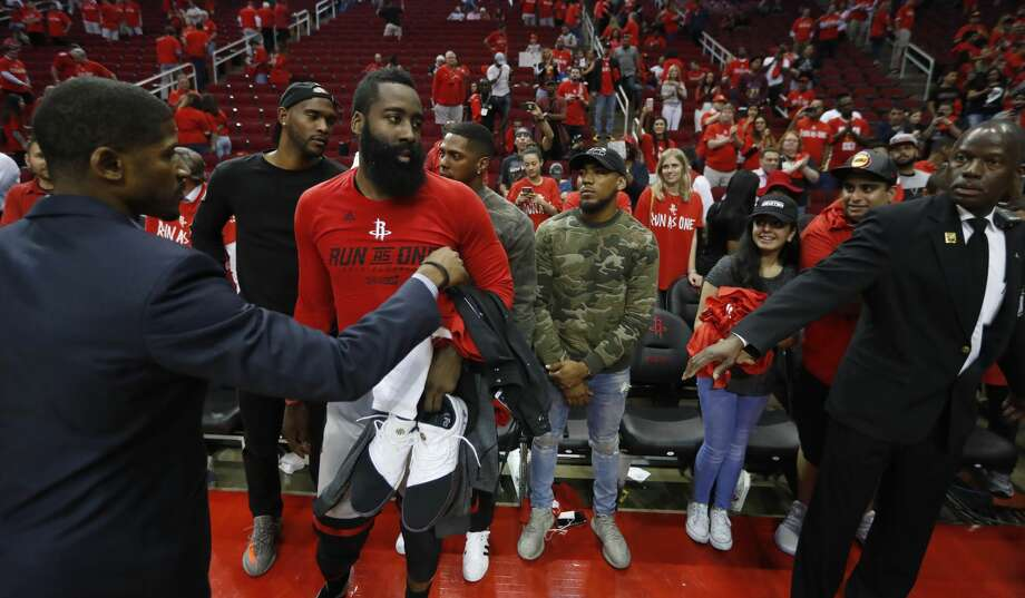 Houston Rockets guard James Harden (13) after Game 6 of the second round of the Western Conference NBA playoffs at the Toyota Center, Thursday, May 11, 2017, in Houston. ( Karen Warren / Houston Chronicle ) Photo: Karen Warren/Houston Chronicle