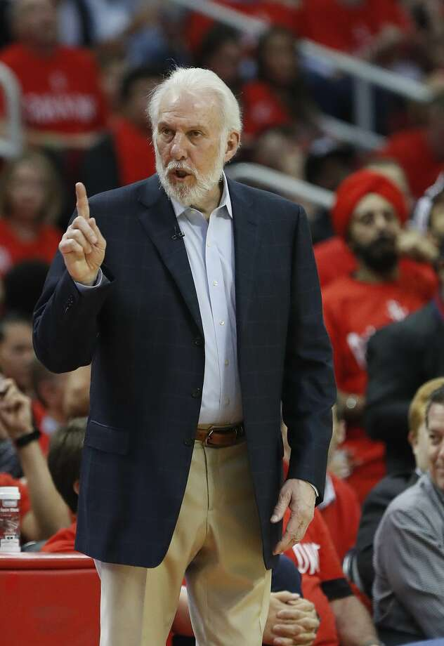 San Antonio Spurs head coach Gregg Popovich reacts during the second half of Game 6 of the second round of the Western Conference NBA playoffs at the Toyota Center, Thursday, May 11, 2017, in Houston. ( Karen Warren / Houston Chronicle ) Photo: Karen Warren/Houston Chronicle