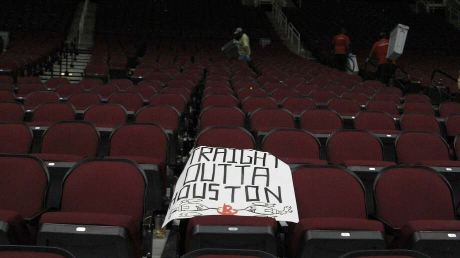 A sign left behind in the stands after the Rockets lost to the Spurs in Game 6 of the second round of the Western Conference NBA playoffs at the Toyota Center, Thursday, May 11, 2017, in Houston. ( Karen Warren / Houston Chronicle ) Photo: Karen Warren/Houston Chronicle