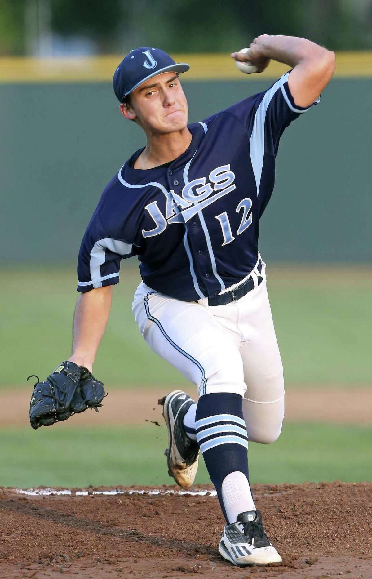 Johnson's Richie Gilbert pitches against O'Connor in Class 6A second round playoff action at Alamo Heights on May 11, 2017.