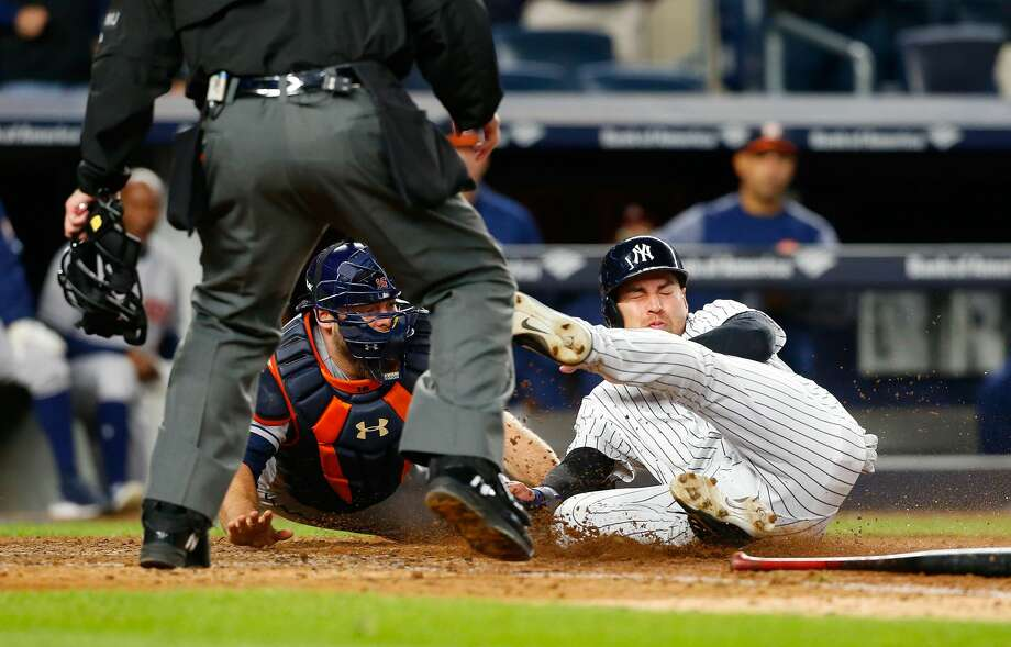 NEW YORK, NY - MAY 11:  Brian McCann #16 of the Houston Astros tags out Jacoby Ellsbury #22 of the New York Yankees to end their game at Yankee Stadium on May 11, 2017 in the Bronx borough of New York City.  (Photo by Jim McIsaac/Getty Images) Photo: Jim McIsaac/Getty Images