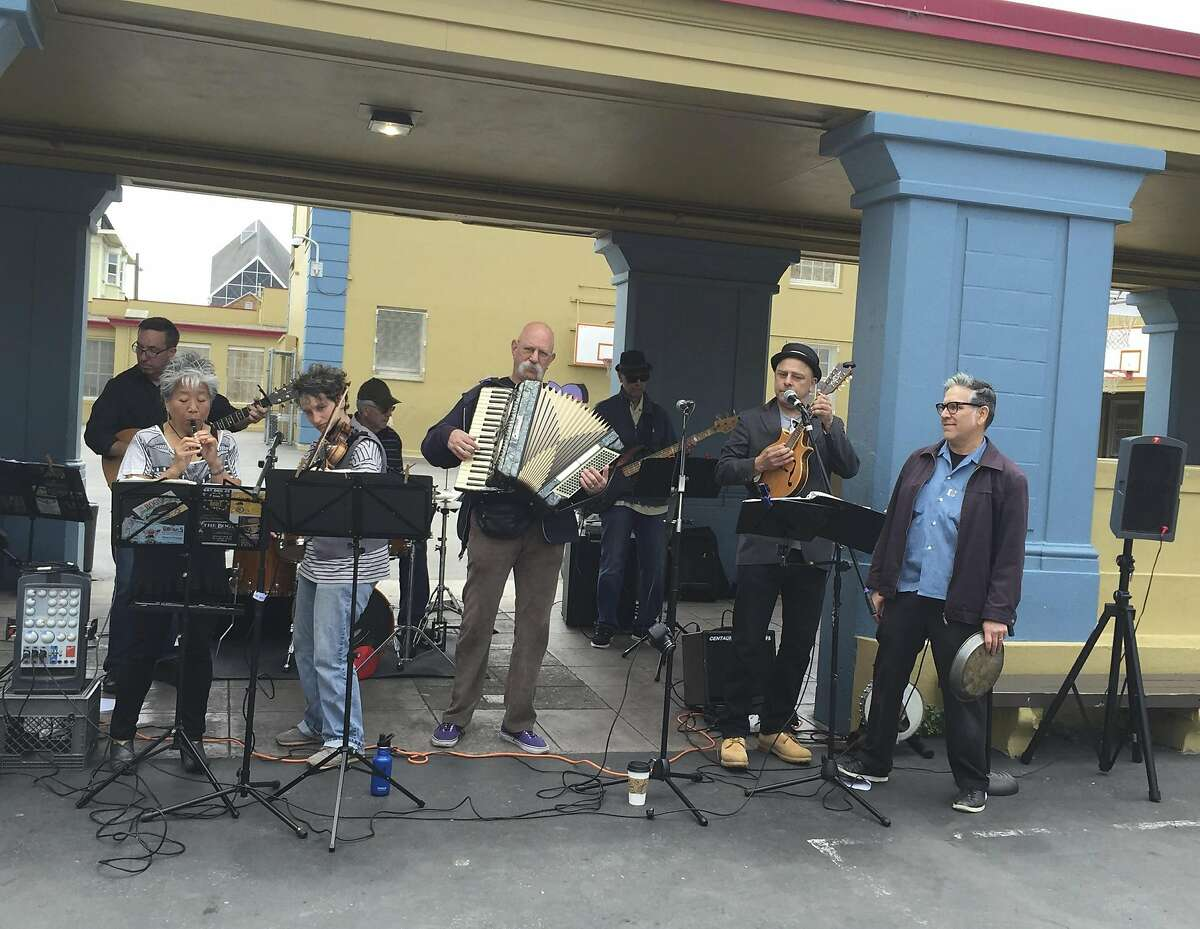 The Bogues perform at Buena Vista Horace Mann School on 23rd Street as part of SF Porchfest in 2016.