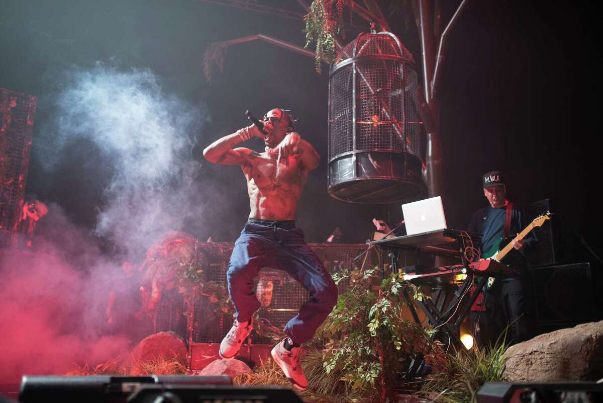 Travis Scott performs at Revention Music Center during his Bird's Eye View Tour in Downtown Houston TX on Thursday May 11, 2017