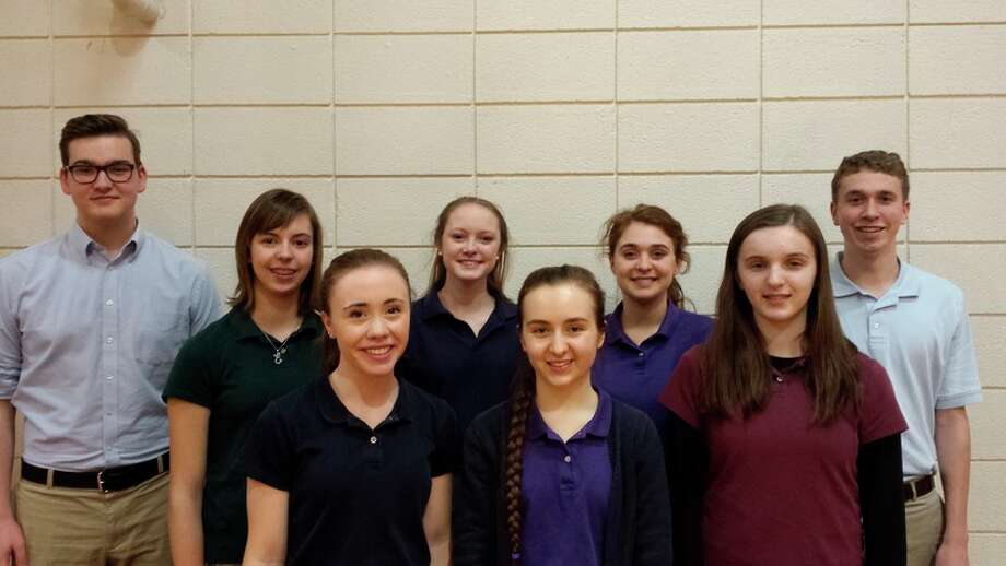 Calvary Baptist Academy students who competed in the American Association of Christian School National Fine Arts Festival are, from left, Tomas Briggs, Emma VanDenBerg, Anna Wiggins, Lydia Hillebrand, Megan Westphal, Tara Lewis, Kaitlyn Kunselman and Zachary Brown.