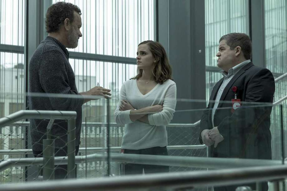 "Tom Hanks, Emma Watson and Patton Oswalt in a scene from ""The Circle,"" which is as chilling as the most frightening horror movie. Photo: Francois Duhamel / STX Financing / Associated Press / See Change Productions, LLC."
