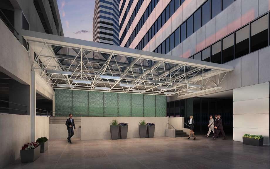 A glass art wall in the lobby is among the  common area improvements planned in Three Riverway. Photo: CBRE