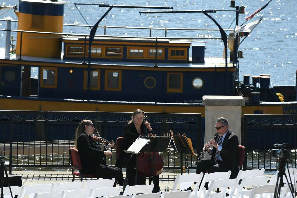 Water Music NY, the Albany Symphony's planned seven-concert excursion from July 2-8 along the Erie Canal, is announced Friday, May 12, 2017, at the Corning Preserve in Albany. (Will Waldron/Times Union)