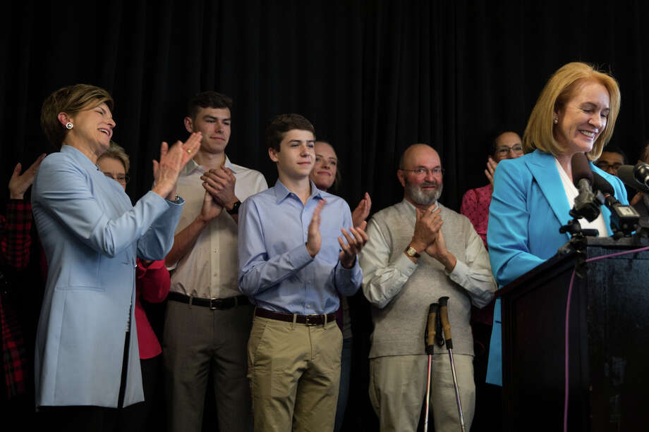 Former U.S. Attorney Jenny Durkan's family, surrounded by family, friends and political friends, announces her candidacy in the 2017 Seattle mayoral race, at Pacific Tower on Friday, May 12, 2017. She's in the finals, picking up coveted labor endorsements, but the race is just beginning. Photo: GRANT HINDSLEY, SEATTLEPI.COM / SEATTLEPI.COM