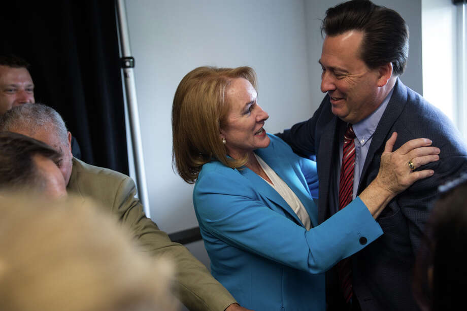 Former U.S. Attorney Jenny Durkan hugs Jordan Royer after announcing her candidacy in the 2017 Seattle mayoral race. Durkan has picked up endorsements ranging from the Seattle Metropolitan Chamber of Commerce to the gay-lesbian Victory Fund. She's also raising money hand over fist.  Photo: GRANT HINDSLEY, SEATTLEPI.COM / SEATTLEPI.COM