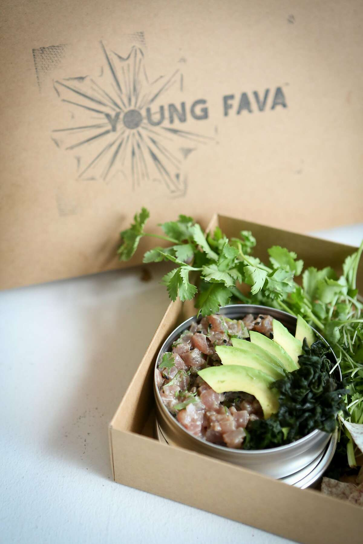 One of Anthony Strong's newest dishes, 90's style Ahi Crudo, will be featured at Young Fava, San Francisco's first delivery-only restaurant on Sunday, May 6, 2017 in San Francisco, Calif.
