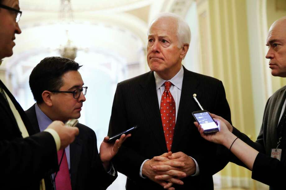 Senate Majority Whip John Cornyn of Texas, talks with reporters Photo: Jacquelyn Martin, STF / Copyright 2017 The Associated Press. All rights reserved.