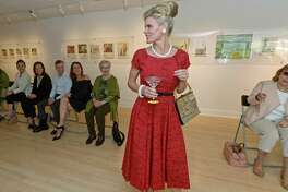 Deborah Murtaugh, center, helps model the classic styles of the 1950s and early 1960s during a vintage fashion show at the Westport Arts Center April 27. The fashion show was in advance of the Mad Men-themed WAC 2017 Gala: Martini Madness to be held at at the Fairfield County Hunt Club on May 20.