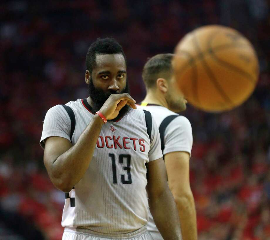 Houston Rockets guard James Harden (13) reacts after getting hit in the face during the first half of Game 6 of the second round of the Western Conference NBA playoffs at the Toyota Center, Thursday, May 11, 2017, in Houston. ( Karen Warren / Houston Chronicle ) Photo: Karen Warren, Staff Photographer / 2017 Houston Chronicle