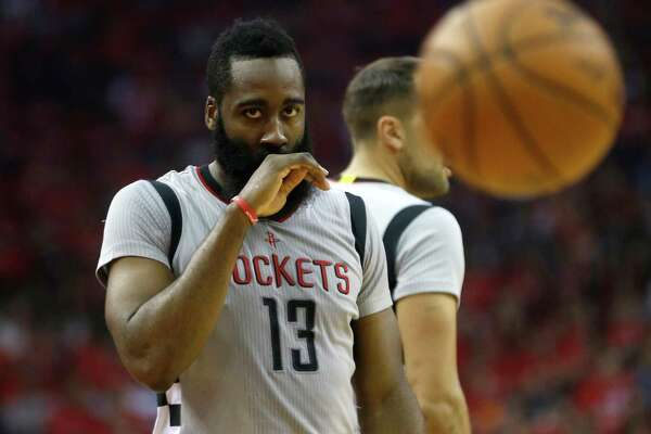 Houston Rockets guard James Harden (13) reacts after getting hit in the face during the first half of Game 6 of the second round of the Western Conference NBA playoffs at the Toyota Center, Thursday, May 11, 2017, in Houston. ( Karen Warren / Houston Chronicle )