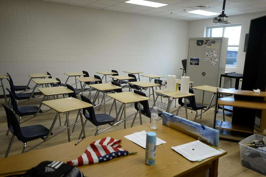 Desks and other furniture have been moved into a classroom at the new Buna High School campus. The school plans to start the new year on Aug. 22.  Photo taken Friday 8/12/16 Ryan Pelham/The Enterprise Photo: Ryan Pelham, Ryan Pelham/The Enterprise
