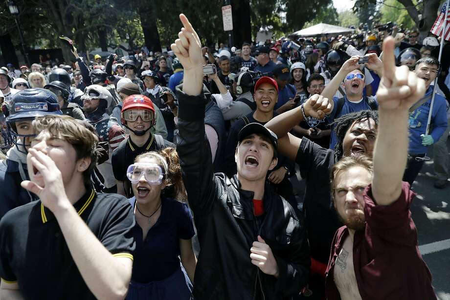 Demonstrators direct their anger toward City Hall last month during a rally for free speech near the UC Berkeley campus the day conservative pundit Ann Coulter's speech was canceled. Photo: Marcio Jose Sanchez, Associated Press