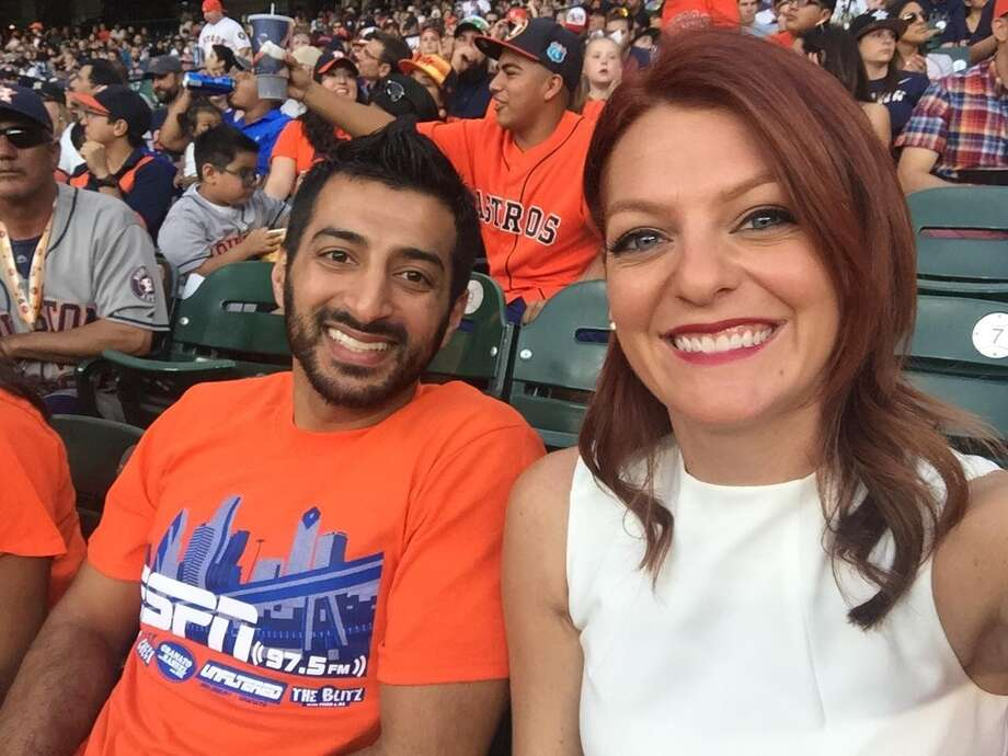 Old college buddies Raheel Ramzanali of ESPN 97.5 FM and Julia Morales of Root Sports Southwest both cover the Astros. Photo: Julia Morales