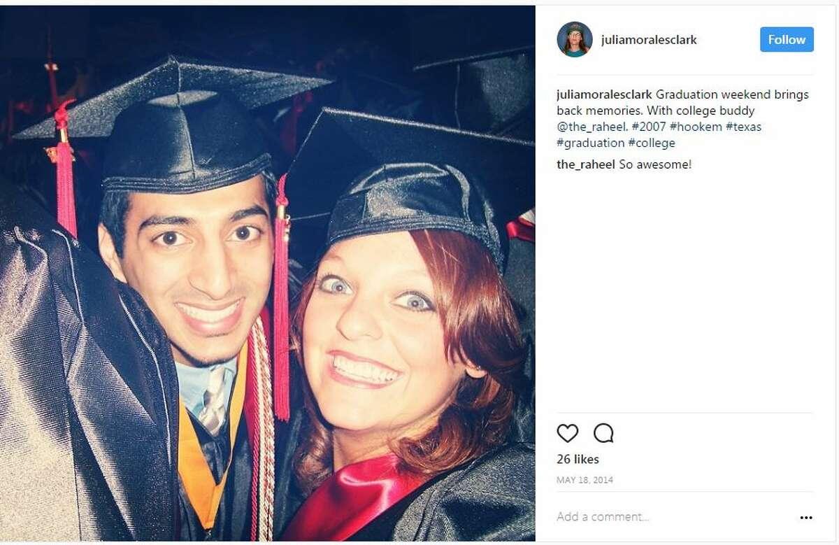 Raheel Ramzanali and Julia Morales at their UT graduation