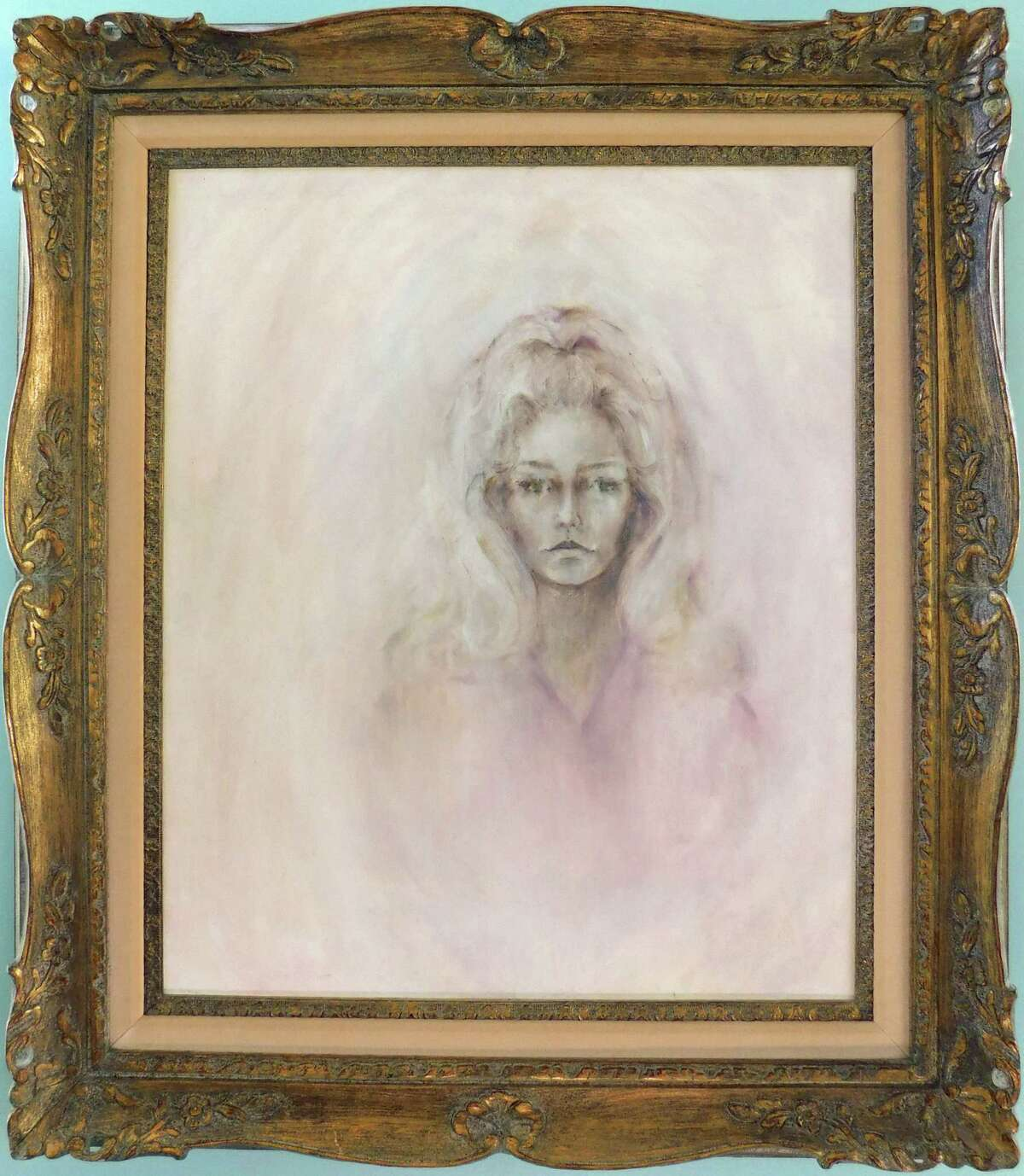 """Fawcett chose a somewhat distant expression for her oil-on-canvas """"Self Portrait,"""" circa 1970."""