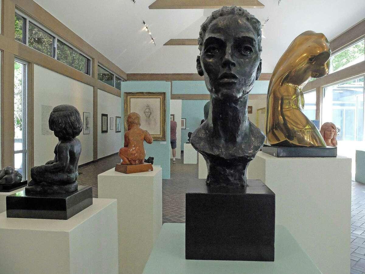 "Farrah Fawcett's bronze ""Head of Diane,"" center, is among workson view in the exhibition ""Mentoring a Muse: Charles Umlauf & Farrah Fawcett"" at the Umlauf Sculpture Garden & Museum in Austin."