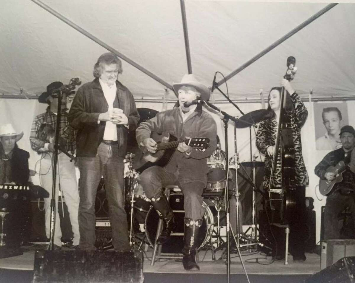 Guy Clark first wrote songs and performed at clubs in Houston. Right: Attorney Dick DeGuerin performs Clark's