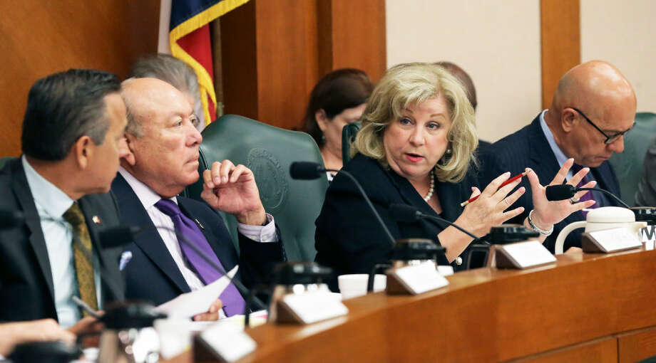 Senator Jane Nelson answers some question as the Texas Senate Finance Committee votes out its version of the state spending plan for the next two years on March 22, 2017.