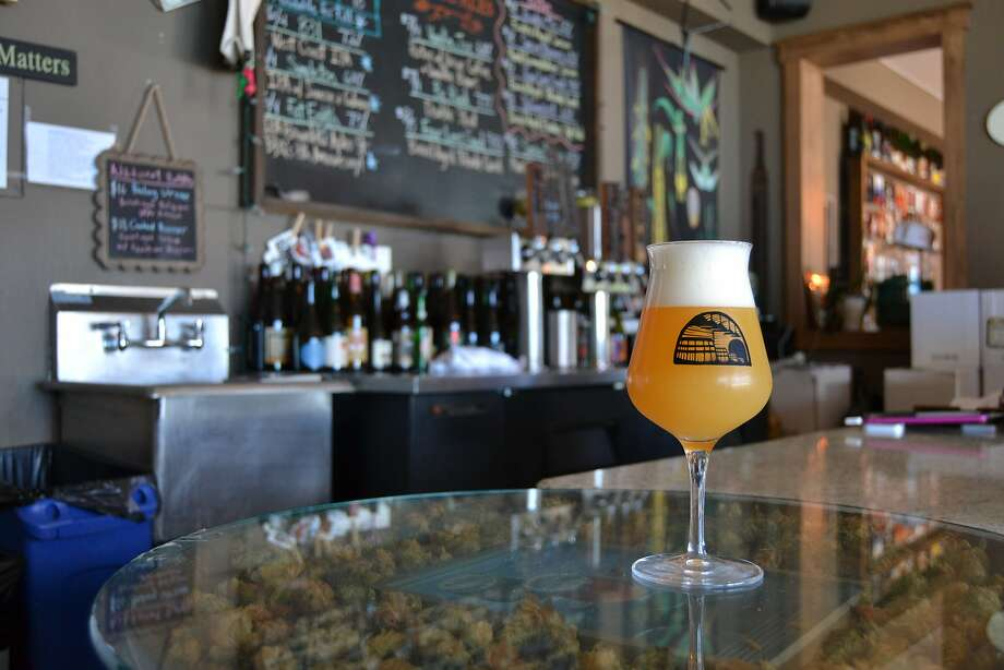 SARA club glass with special logo on the taproom bar Photo: Alyssa Periera