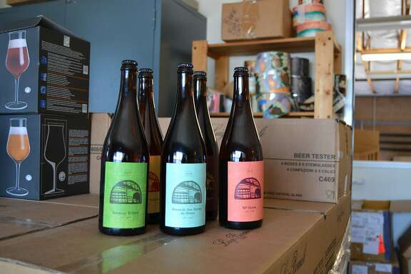 5 club-only release beers in brewery�s packaging/labeling room