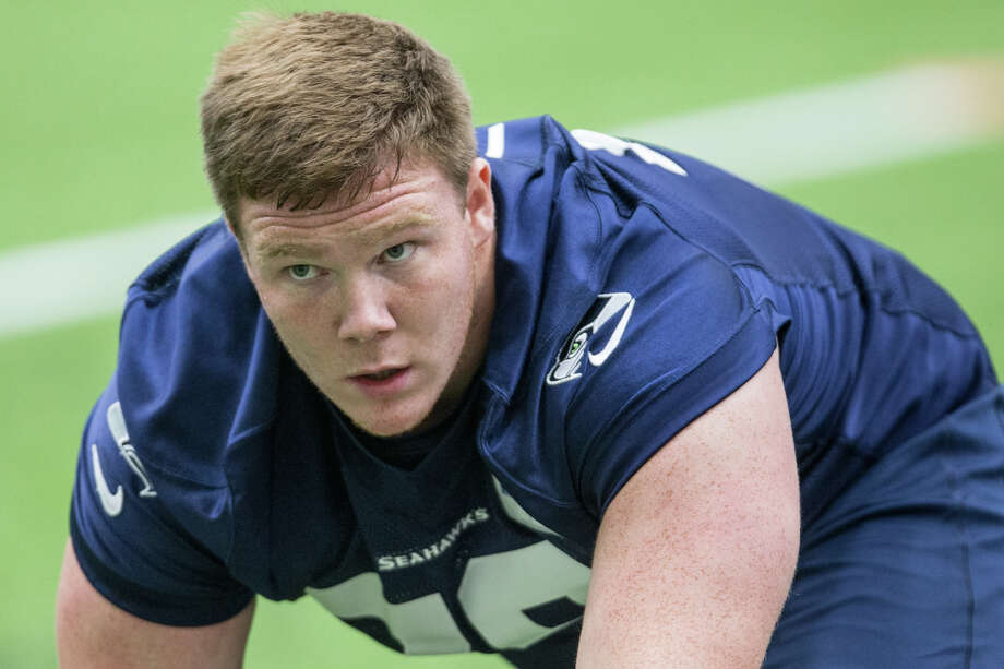 Rookie tackle Ethan Pocic stretches at Seahawks rookie minicamp at Virginia Mason Athletic Center in Renton on Friday, May 12, 2017. Photo: GRANT HINDSLEY, SEATTLEPI.COM / SEATTLEPI.COM