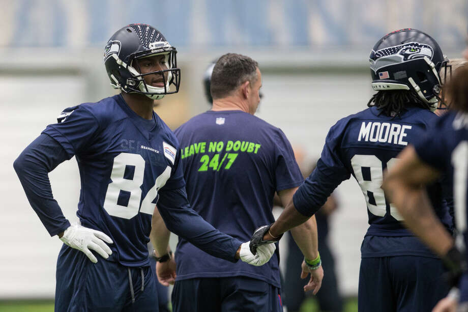 Wide receiver rookies Amara Darboh and David Moore hype each other up at Seahawks rookie minicamp at Virginia Mason Athletic Center in Renton on Friday, May 12, 2017. Photo: GRANT HINDSLEY, SEATTLEPI.COM / SEATTLEPI.COM