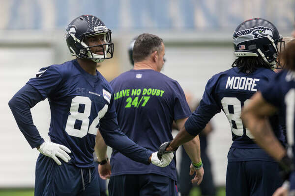 Wide receiver rookies Amara Darboh and David Moore hype each other up at Seahawks rookie minicamp at Virginia Mason Athletic Center in Renton on Friday, May 12, 2017.