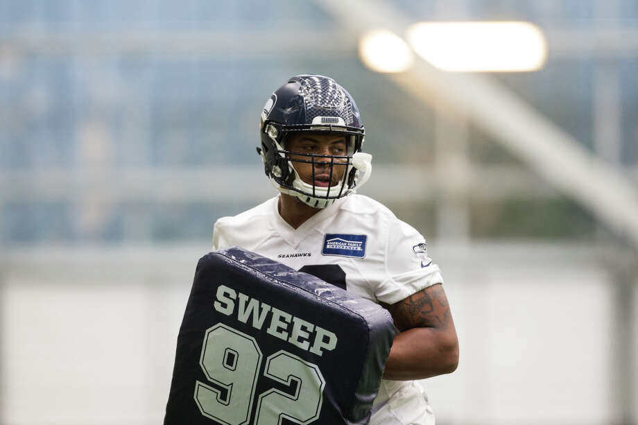 Rookie defensive tackle Nazair Jones at Seahawks rookie minicamp at Virginia Mason Athletic Center in Renton on Friday, May 12, 2017. Photo: GRANT HINDSLEY, SEATTLEPI.COM / SEATTLEPI.COM