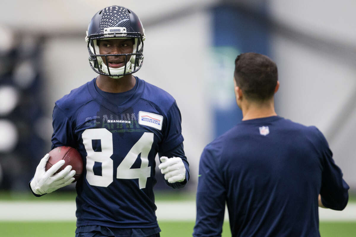 Rookie wide receiver Amara Darboh runs back to the line during a drill at Seahawks rookie minicamp at Virginia Mason Athletic Center in Renton on Friday, May 12, 2017.