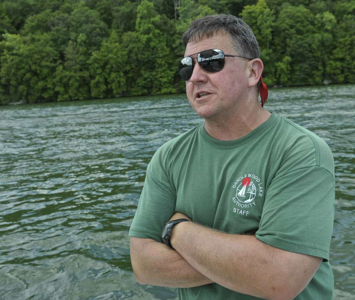 Larry Marsicano, the Executive Director of the Candlewood Lake Authority was on Candlewood Lake.