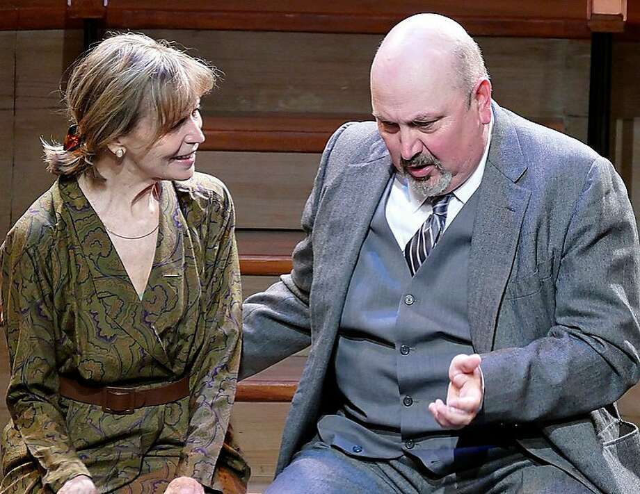 """Dr. Ballantyne (Søren Oliver) professes his admiration of Mrs. Donaldson (Nancy Shelby) in Word for Words' """"Smut: An Unseemly Story (The Greening of Mrs. Donaldson)."""" Photo: Mel Solomon, Word For Word"""