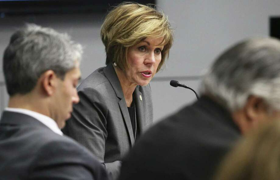 City Manager Sheryl Sculley speaks during a meeting on Civic Park developments on February 1, 2017.  City Manager Sheryl Sculley has doubled down, not only recommending a Chicago-based entertainment-cruises company at the center of the controversy, but also bringing it to City Council for a vote mere weeks before the runoffs, thereby ensuring the vote is shot through with politics Photo: Tom Reel, Staff / San Antonio Express-News / 2017 SAN ANTONIO EXPRESS-NEWS