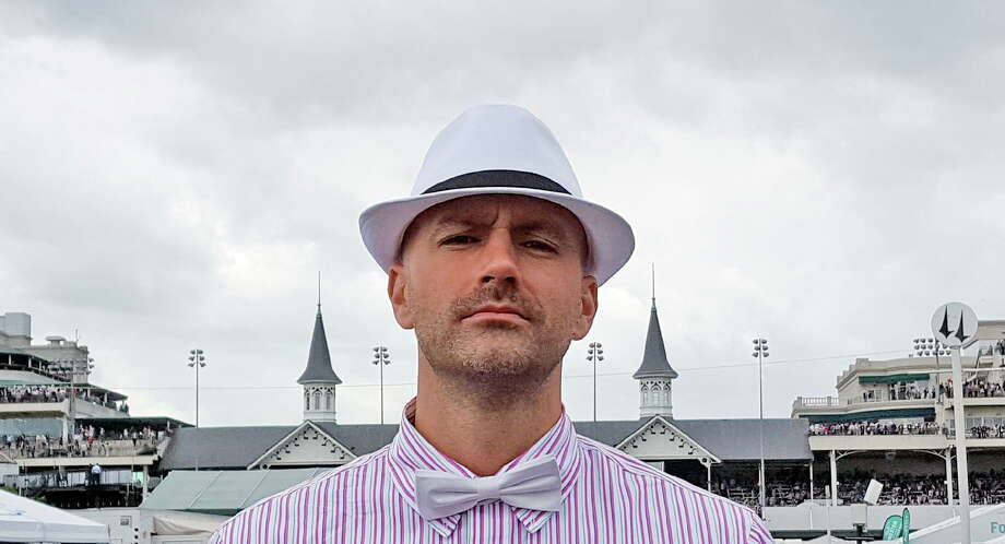 The author Seth Stapleton doing his best to look dapper at the Kentucky Derby.