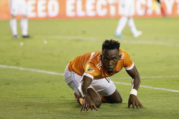 Houston Dynamo forward Alberth Elis (17) celebrates after scoring the first goal in the first half during the MLS game between the Houston Dynamo and the Vancouver Whitecaps at BBVA Compass Stadium on Friday, May 12, 2017, in Houston, TX.
