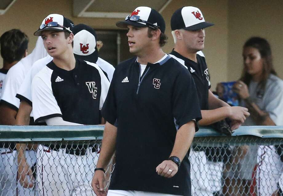 Churchill coach Alan Hill talks to his team in the dugout during a Class 6A second-round playoff game against Clemens at Blossom Athletic Center on May 12, 2017. Photo: Kin Man Hui /San Antonio Express-News / ©2017 San Antonio Express-News