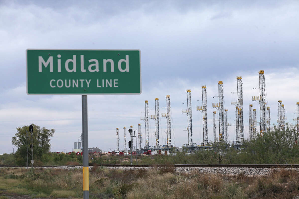 Numerous oil rigs await action in the Permian Basin.