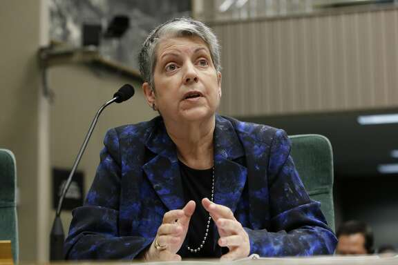 University of California President Janet Napolitano responds to a question while appearing before a Joint Legislative Audit Committee, Tuesday, May 2, 2017, in Sacramento, Calif. Lawmakers questioned Napolitano about an audit, conducted by the State Auditor, that found that UC administrators hid $175 million from the public while the university system raised tuition and asked lawmakers for more money. Napolitano has disputed the audit's findings.(AP Photo/Rich Pedroncelli)