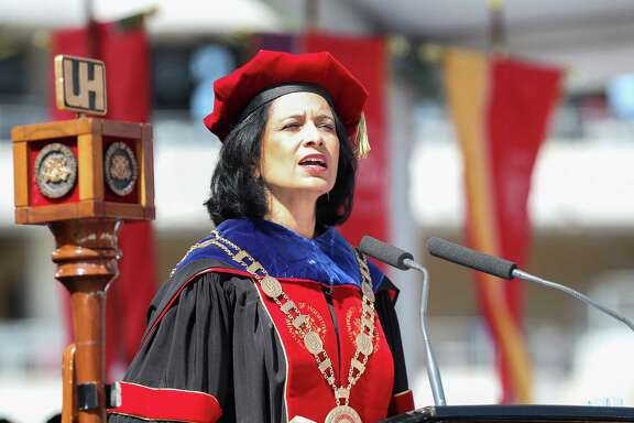 University of Houston President Renu Khator welcomes everyone to the University of Houston-wide commencement at TDECU Stadium Friday, May 12, 2017, in Houston.